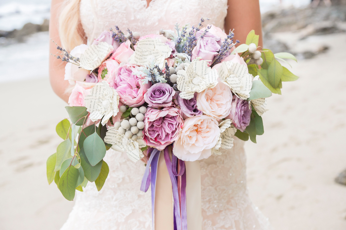 Purple Bridal Bouquet with Paper Flowers | disney and harry potter inspired wedding photos | Wedding Photos from Laguna Beach, California / photo by Peterson Design + Photography