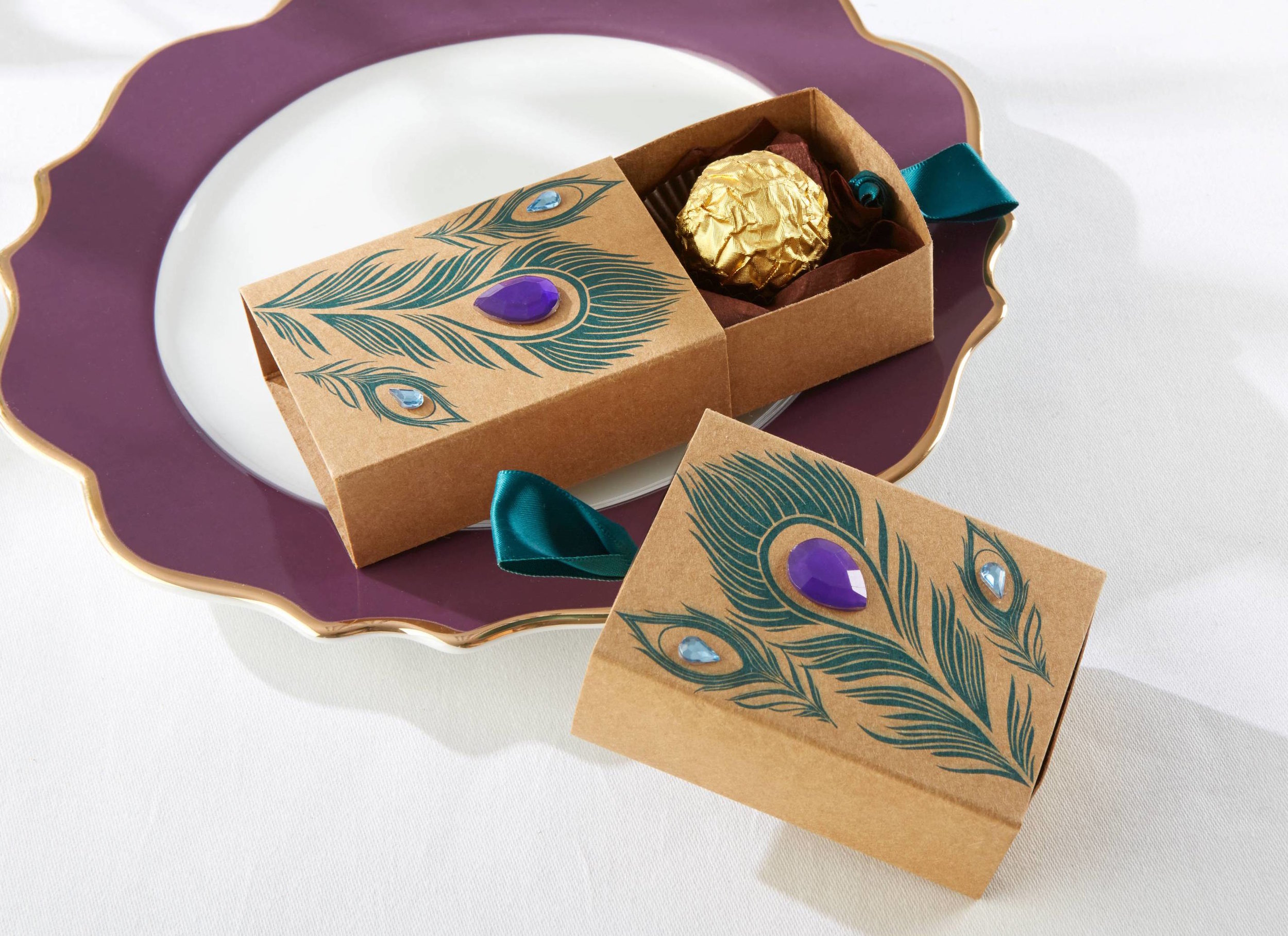 Peacock Jeweled Favor Box | Perfect for Chocolate Favors | from Essential Wedding Day Accessories for a Peacock Wedding {inspiration board} | as seen on www.BrendasWeddingBlog.com