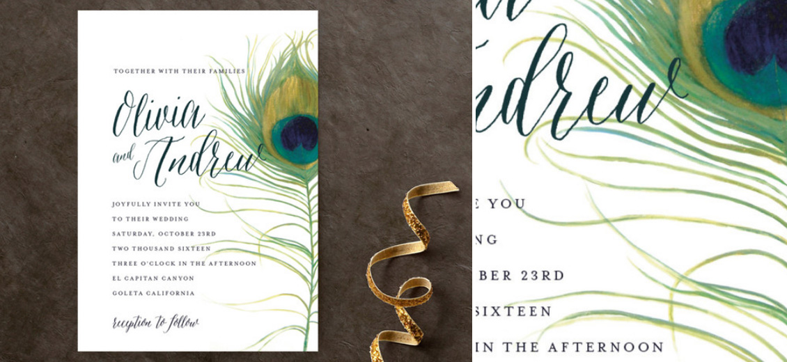 Peacock Wedding Invitation - from Essential Wedding Day Accessories for a Peacock Wedding {inspiration board} | as seen on www.BrendasWeddingBlog.com