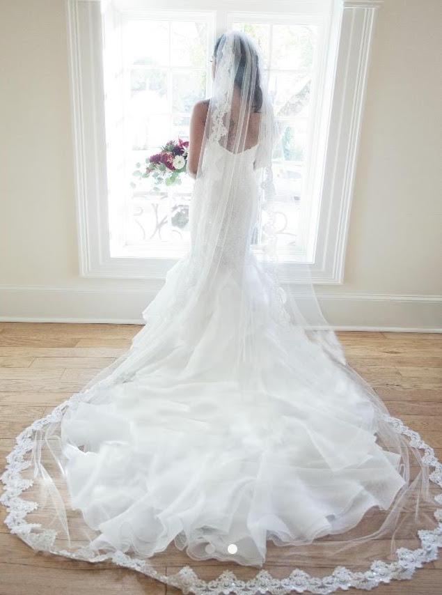 Stunning Full Length Handmade Lace Wedding Veil by Blanca Veils / as seen on www.BrendasWeddingBlog.com