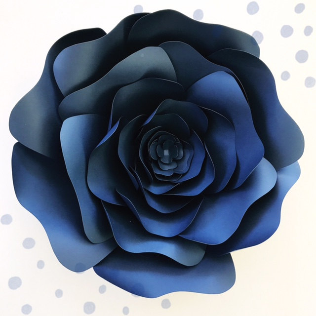How to Add Flair to your Wedding or Party with Paper Flowers | Blue DIY Paper Flower Template from Paper Flora