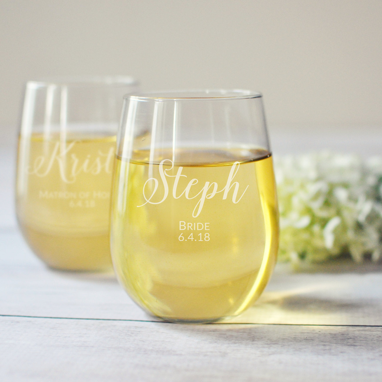 Stemless Wine Glasses for Bridesmaids