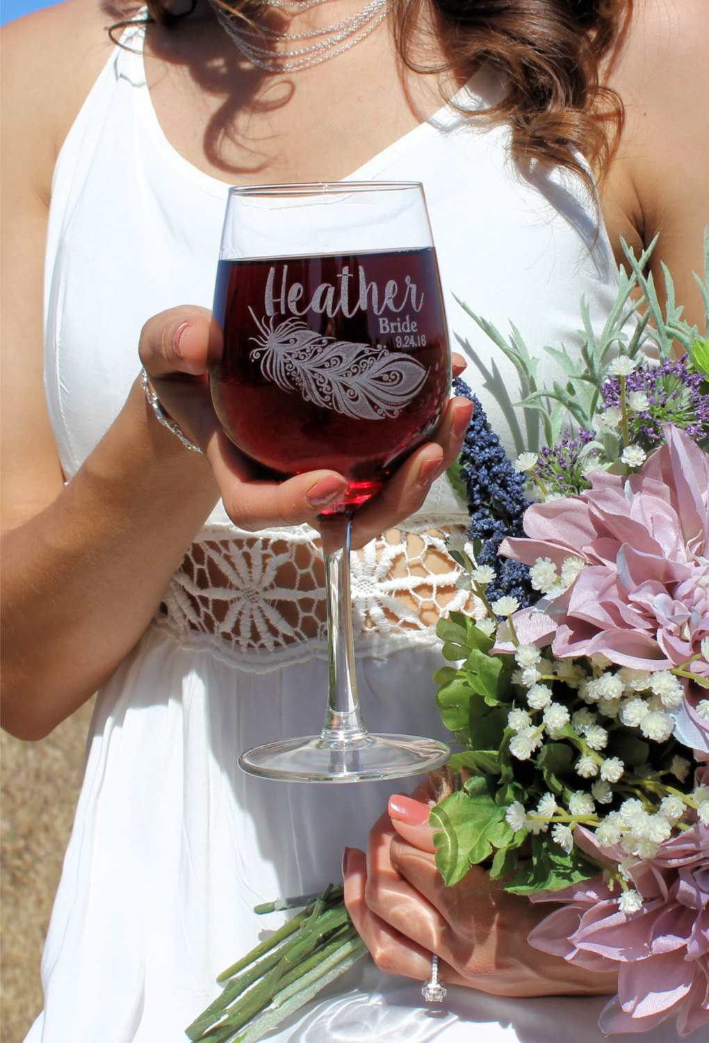 Personalized Bride + Bridesmaid Wine Glasses