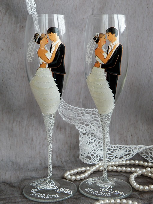 Hand-Painted Wedding Toasting Flutes