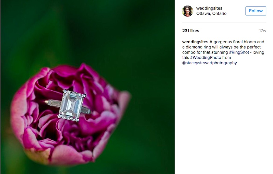 Gorgeous Engagement Ring Shot on a Purple Flower : The Best in 2016 Creative Weddings leads to Hot Wedding Trends for 2017 as seen on www.BrendasWeddingBlog.com / photo by Stacey Stewart Photography