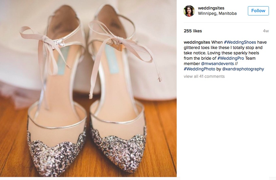 Glitter Wedding Shoes : The Best in 2016 Creative Weddings leads to Hot Wedding Trends for 2017 as seen on www.BrendasWeddingBlog.com / Via Madeline's Weddings and Events in Canada /  photo by Xandra Photography