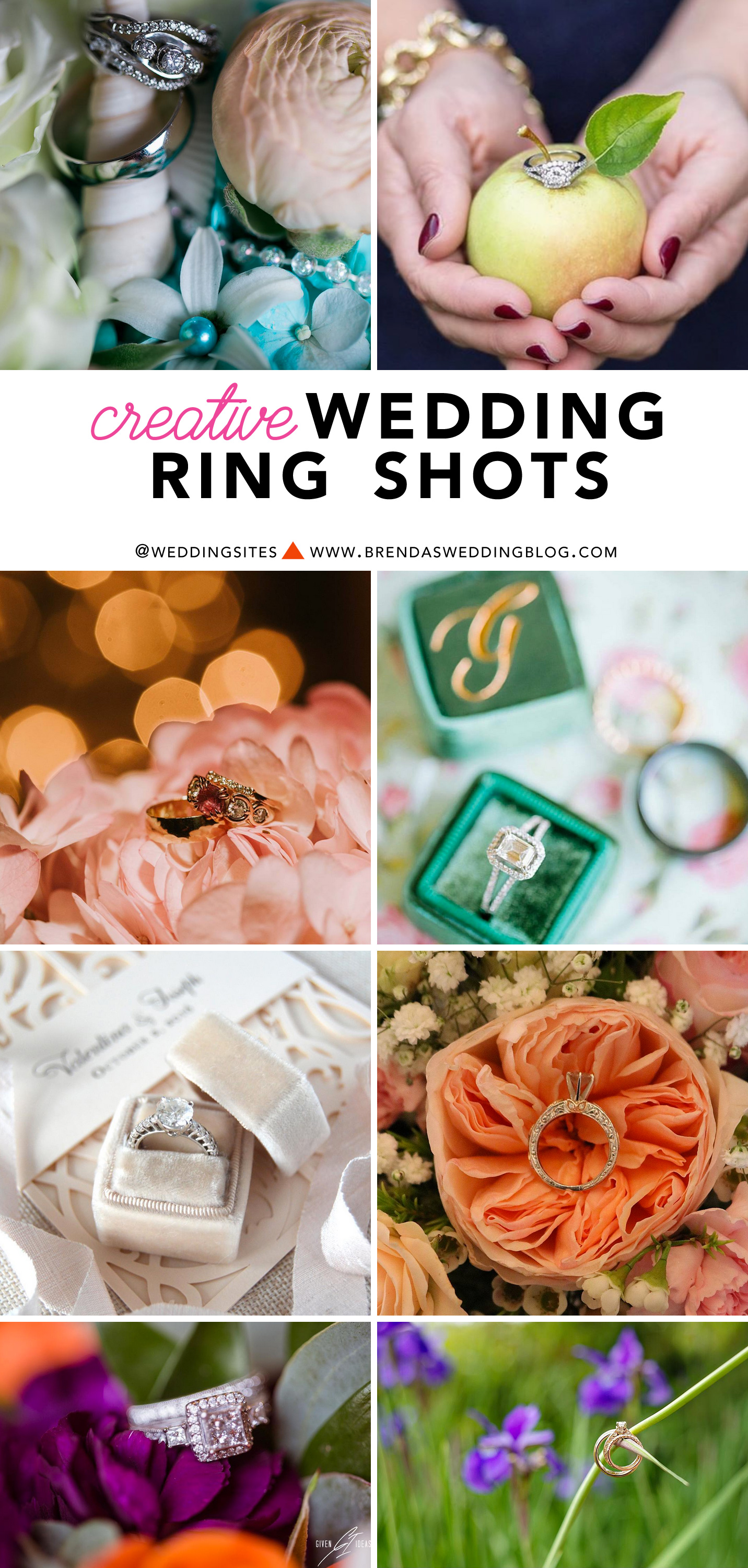 Creative Wedding Ring Shots : Click on over to www.BrendasWeddingBlog.com to see all the sparkly photo inspiration of wedding rings and engagement rings
