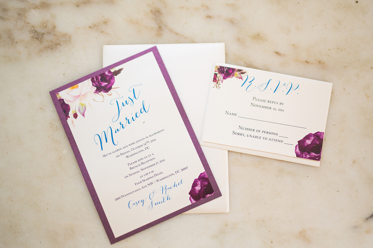 Beautiful Purple Floral and Aqua Blue Just Married Wedding Invitation / from a Washington DC Military Elopement Wedding / photo by Marianne Blackham Photography