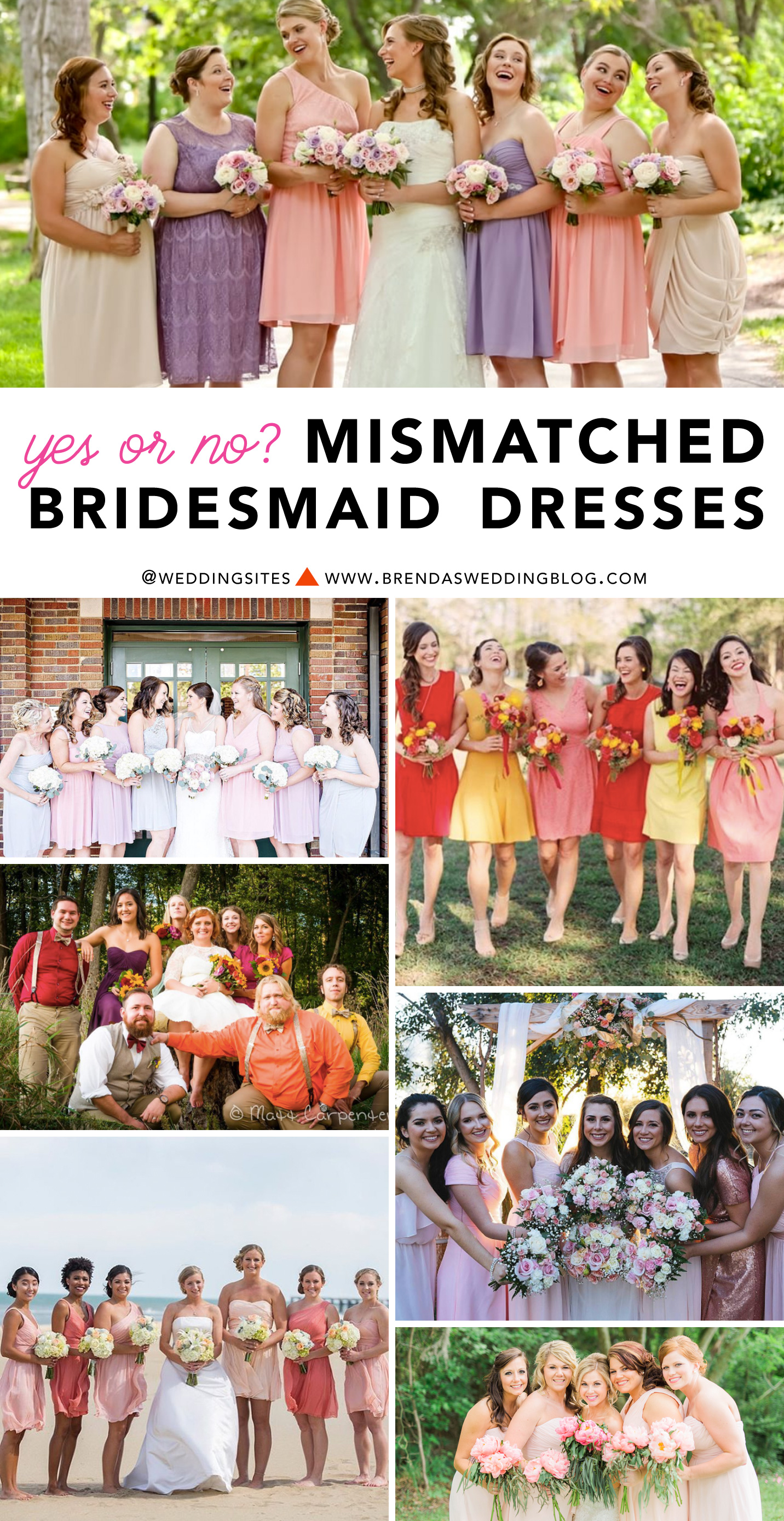 The Hot Wedding Trend : Mismatched Bridesmaid Dresses - are you on team yes or no? Click to see 5 ways to pull off this look with your Bridesmaids for your Wedding / as seen on www.BrendasWeddingBlog.com