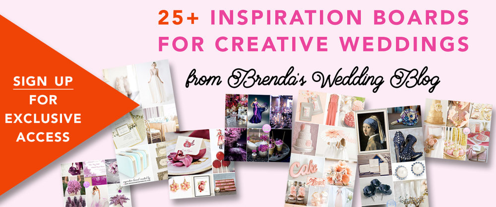 Click for FREE Exclusive Access to over 25 Wedding Color Palettes and Wedding Theme Ideas from Brenda's Wedding Blog www.brendasweddingblog.com