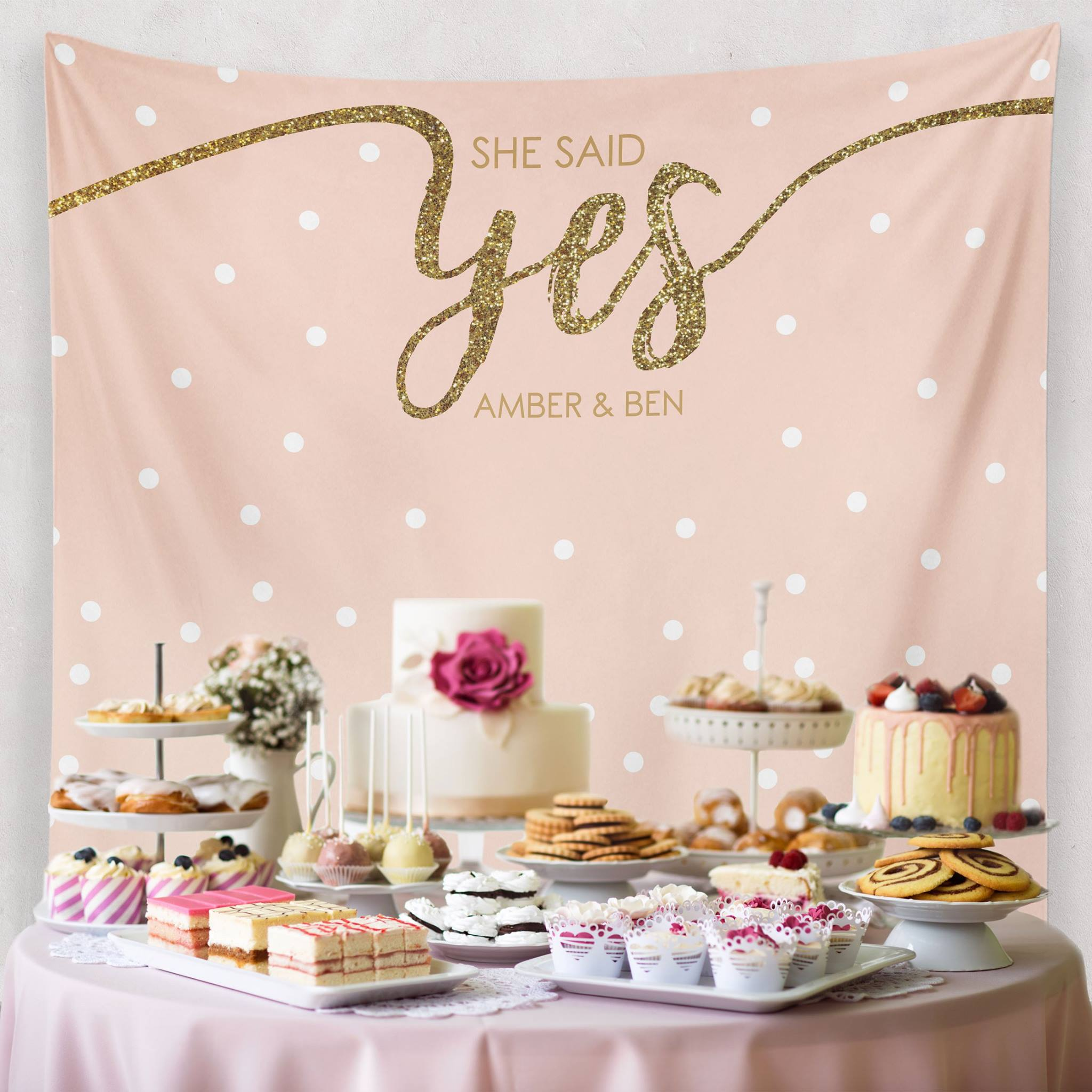She Said Yes Gold Wedding Decoration - Custom Wedding Tapestries Dessert Table Backdrops and Photo Booth Backgrounds - Bridal Shower Banner Decoration - as seen on www.BrendasWeddingBlog.com