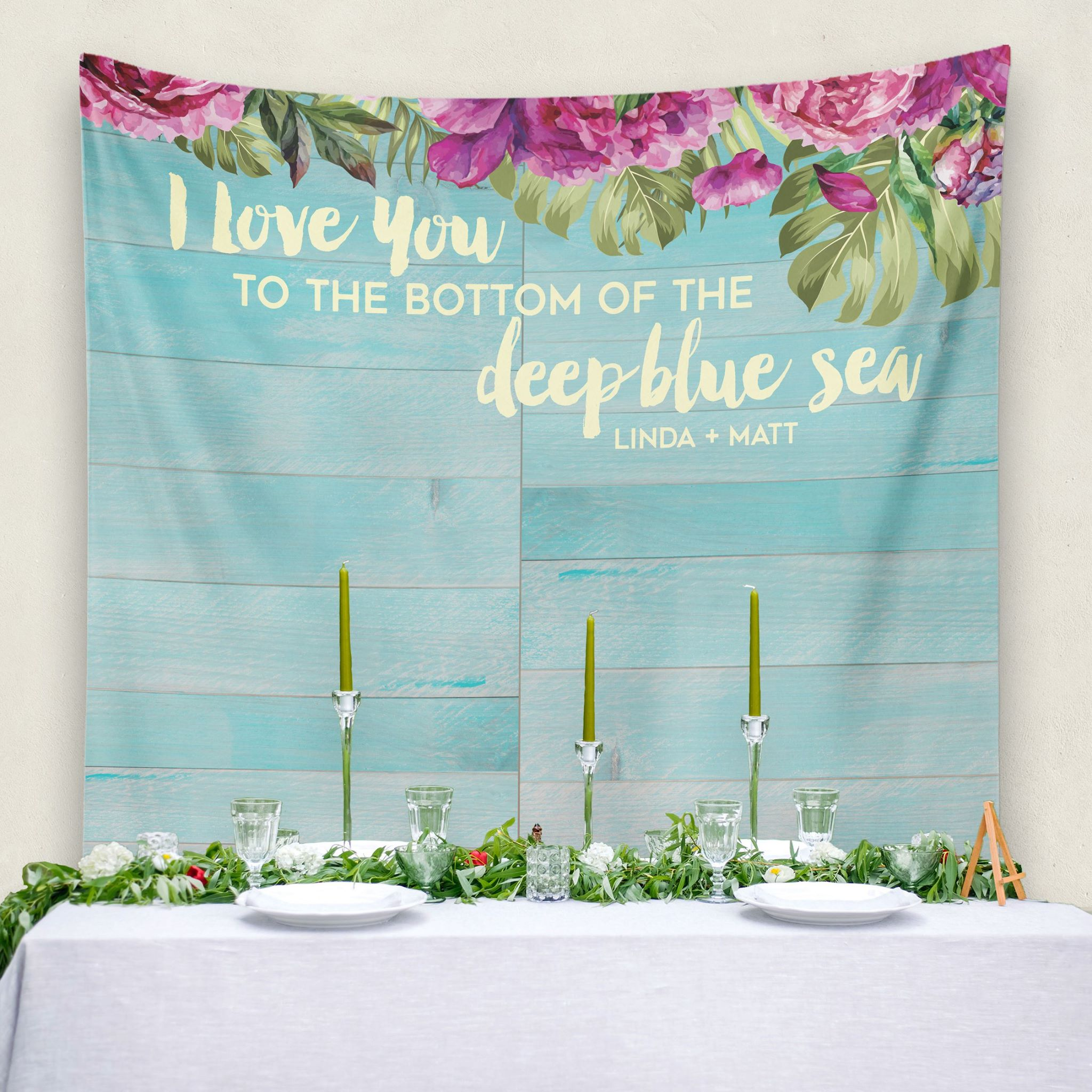 Destination Beach Wedding Decoration - Custom Wedding Tapestries Dessert Table Backdrops and Photo Booth Backgrounds - Bridal Shower Banner Decoration - as seen on www.BrendasWeddingBlog.com