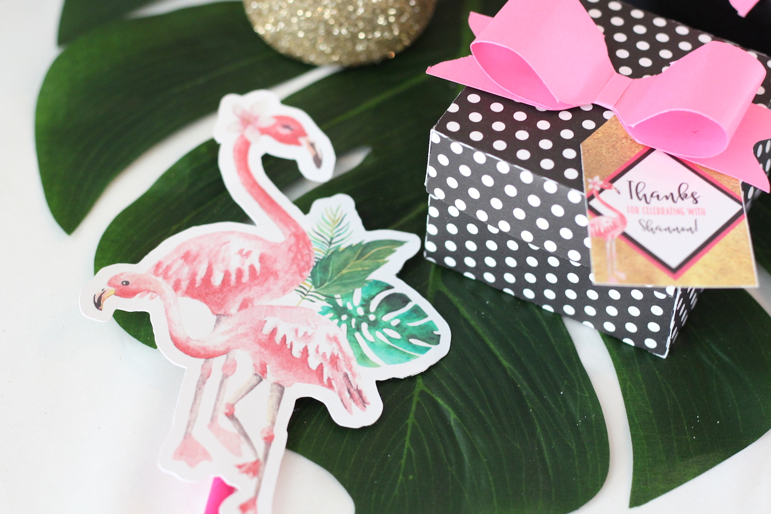 Let's Flamingo Bachelorette Party Printables - Flamingos for Straws and Favor Boxes with Pink Paper Bows {perfect for a bridal shower, even a bridal brunch as the theme is super versatile}. As seen on www.brendasweddingblog.com