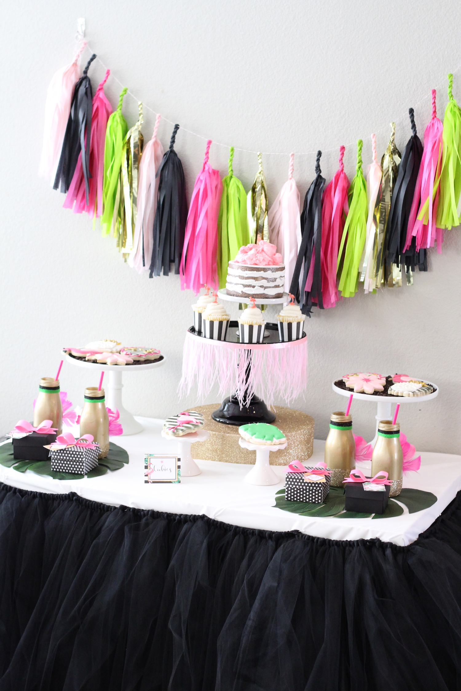 Party Inspiration for a Let's Flamingo Bachelorette Party or Bridal Shower - a fun flamingo party theme in pink, white, black, green and gold. Flamingo Dessert Table. As seen on www.BrendasWeddingBlog.com