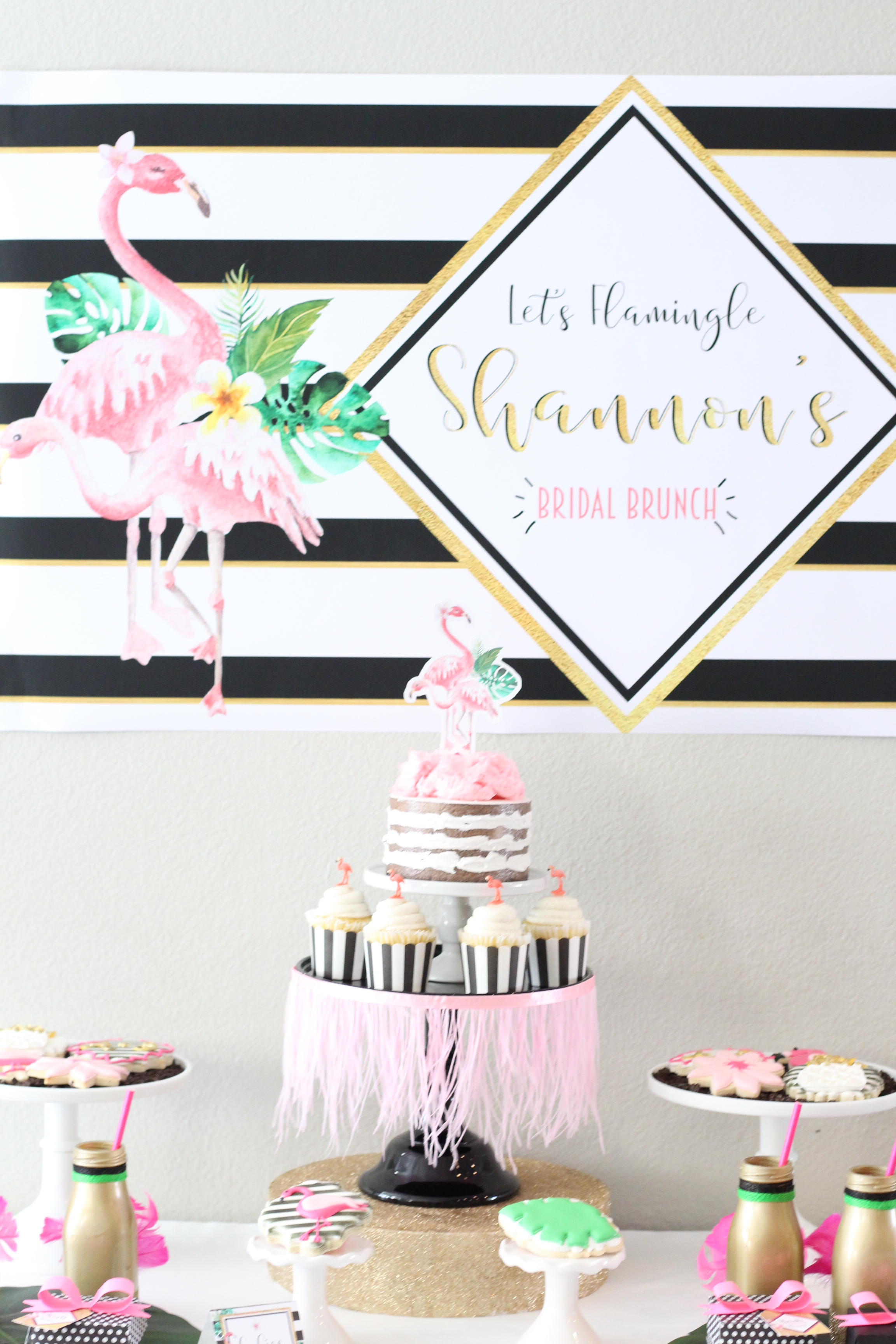 Party Inspiration for a Let's Flamingo Bachelorette Party or Bridal Shower - a fun flamingo party theme in pink, white, black, green and gold. Kate Spade Inspired dessert table. As seen on www.BrendasWeddingBlog.com