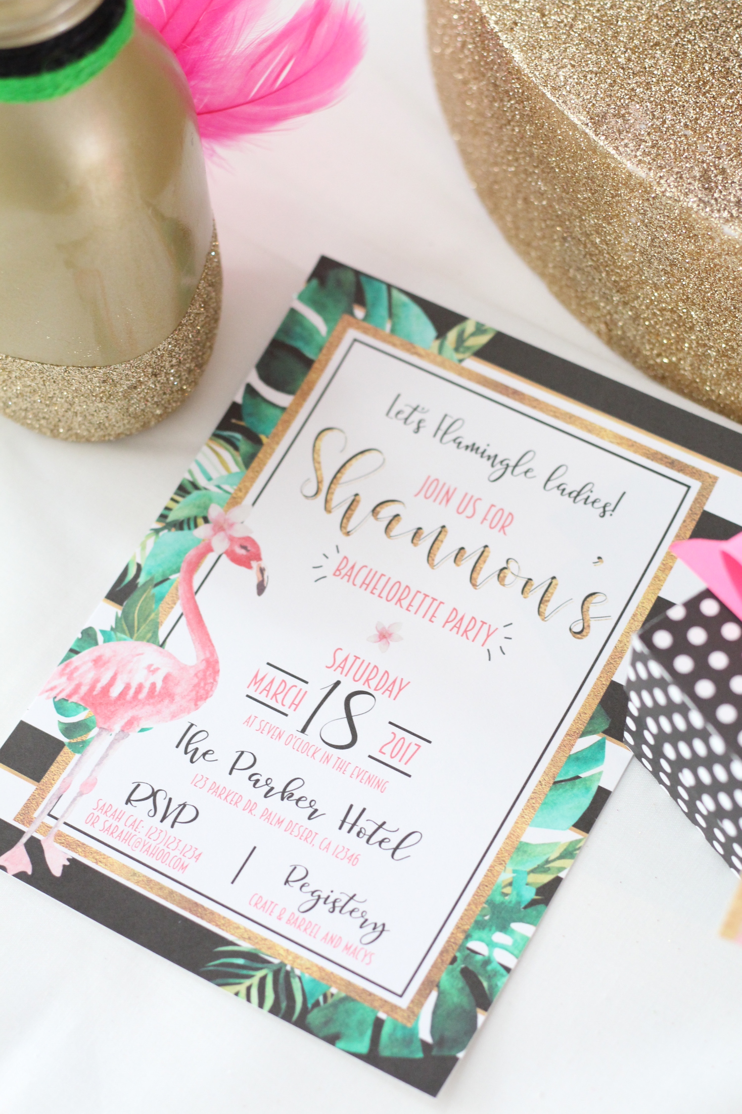 Printable Let's Flamingo Bachelorette Party Invitation or Tropcial Bridal Shower Invitation - a fun flamingo party theme in pink, white, black, green and gold. As seen on www.BrendasWeddingBlog.com