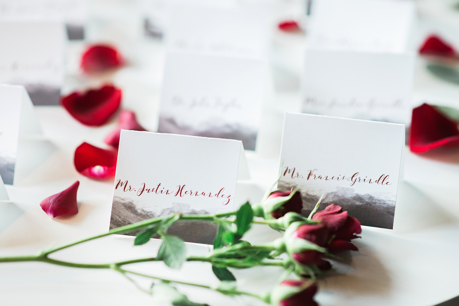 Wedding Place Cards with an Urban Vibe — Luxurious and romantic vintage wedding inspiration in an urban venue — photo by Marianne Blackham Photography — as seen on www.BrendasWeddingBlog.com