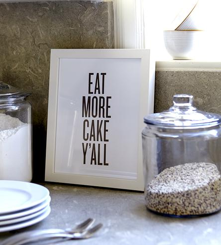 Eat More Cake Print — Perfect Accessory for the Wedding Dessert Table or the Bridal Shower Dessert Display — as seen on www.BrendasWeddingBlog.com