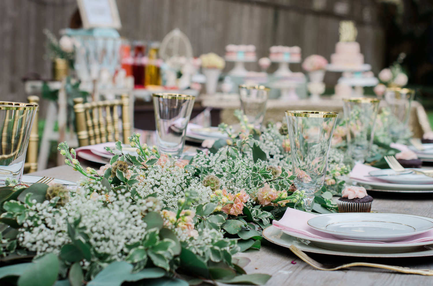 Gorgeous Greenery and Floral Garland table runner — Click to see 8 DIY Wedding Ideas for a Springtime Bridal Shower Brunch — Part of the 37 Creative DIY Wedding Ideas for Spring as seen on www.BrendasWeddingBlog.com