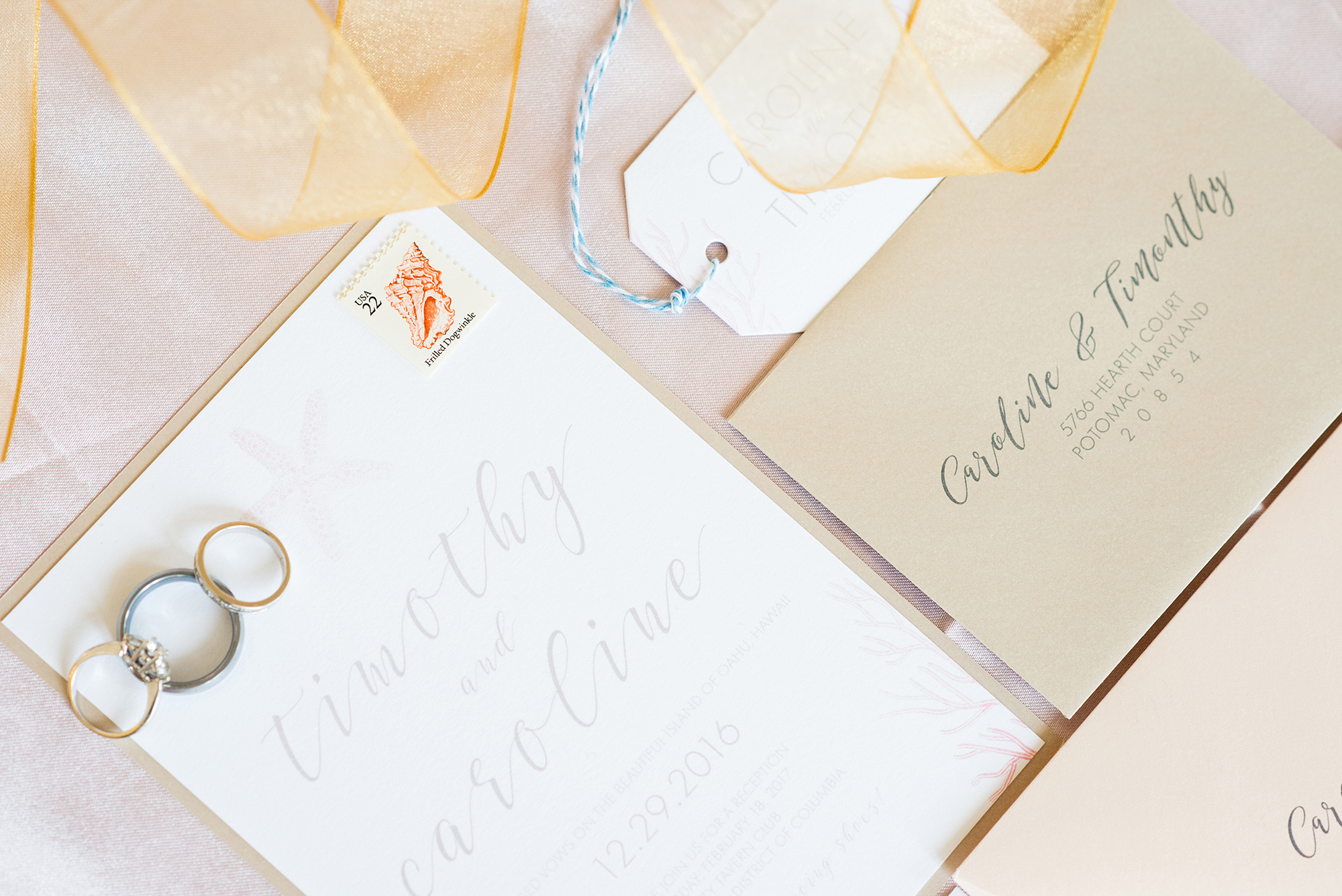 White and cream beach themed wedding invitation - from a Romantic Elopement in Hawaii on the island of Oahu - photo by Marianne Blackham Photography - see more on www.BrendasWeddingBlog.com