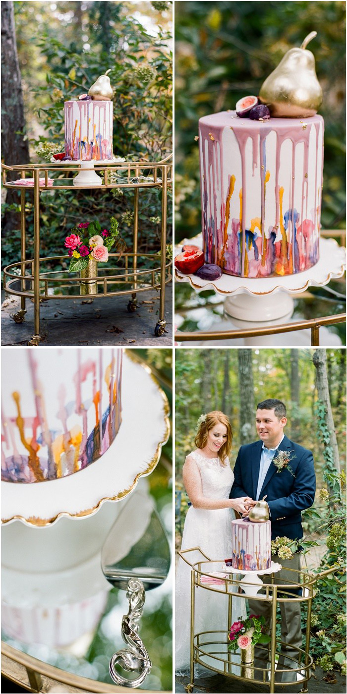 Wedding Bar Cart Inspiration from a Boho Chic Farm Wedding - created by Sarah Sofia Productions - click to see all 9 Creative Ideas Bar Cart Styling on www.BrendasWeddingBlog.com - the wedding planning guide for fresh ideas for creative weddings