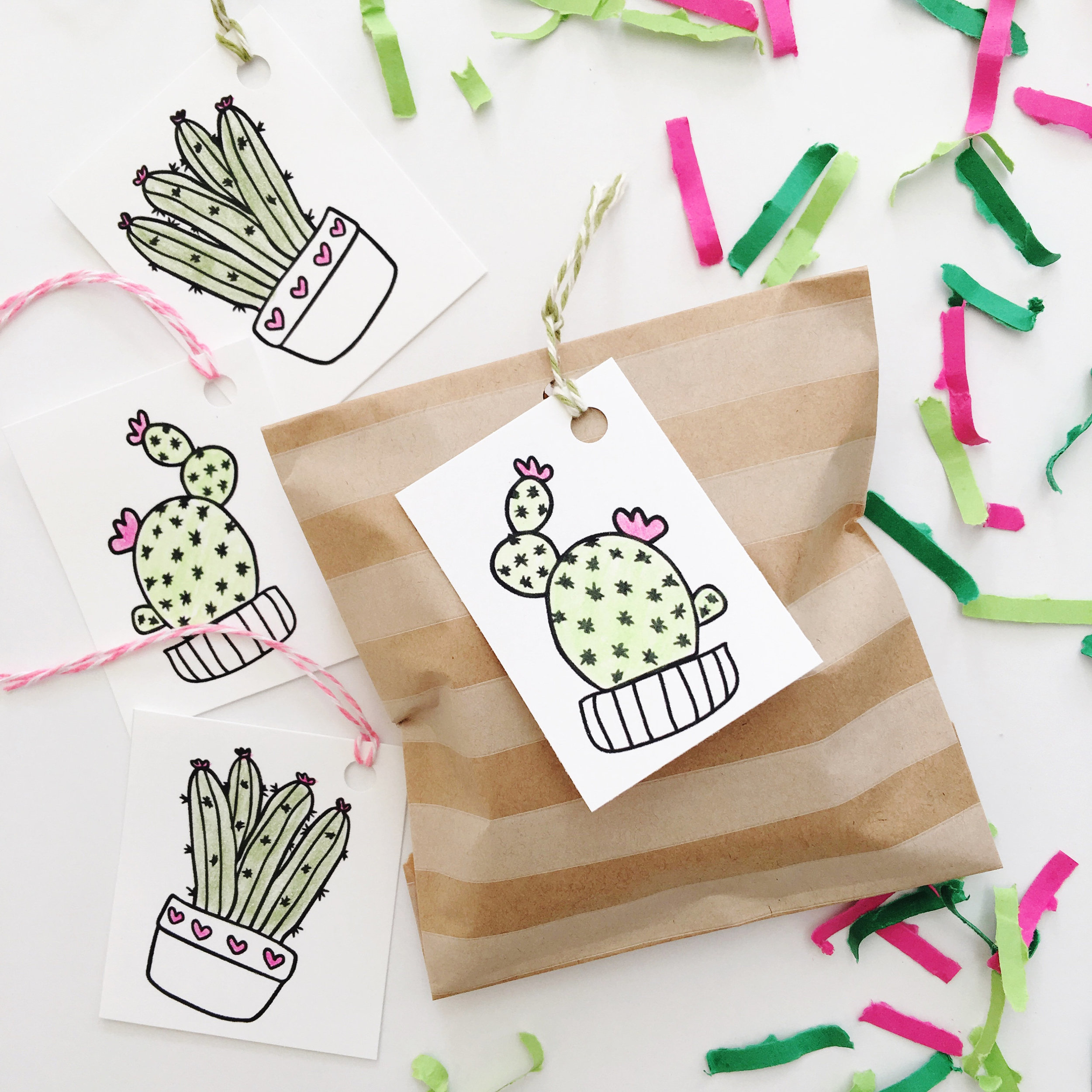 Cactus Confetti : 1 of 13 Cactus Wedding Ideas. This pink and green Festive Fetti confetti is the perfect way to present gifts for your bridesmaids. Simply tuck their gift in a box, add a little confetti, wrap the surprise and add one of the included cactus gift tags. You can even add the confetti to a mini cactus piñata. See more on www.BrendasWeddingBlog.com