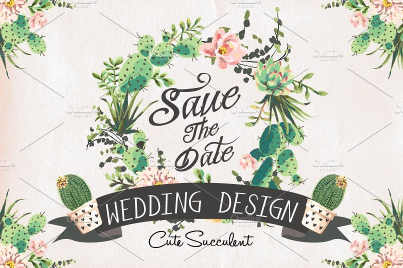 Create your own DIY Cactus Themed Wedding Invitation Suite with downloadable watercolor clip art designs. As seen in Cactus Wedding Ideas - a hot wedding trend on www.BrendasWeddingBlog.com