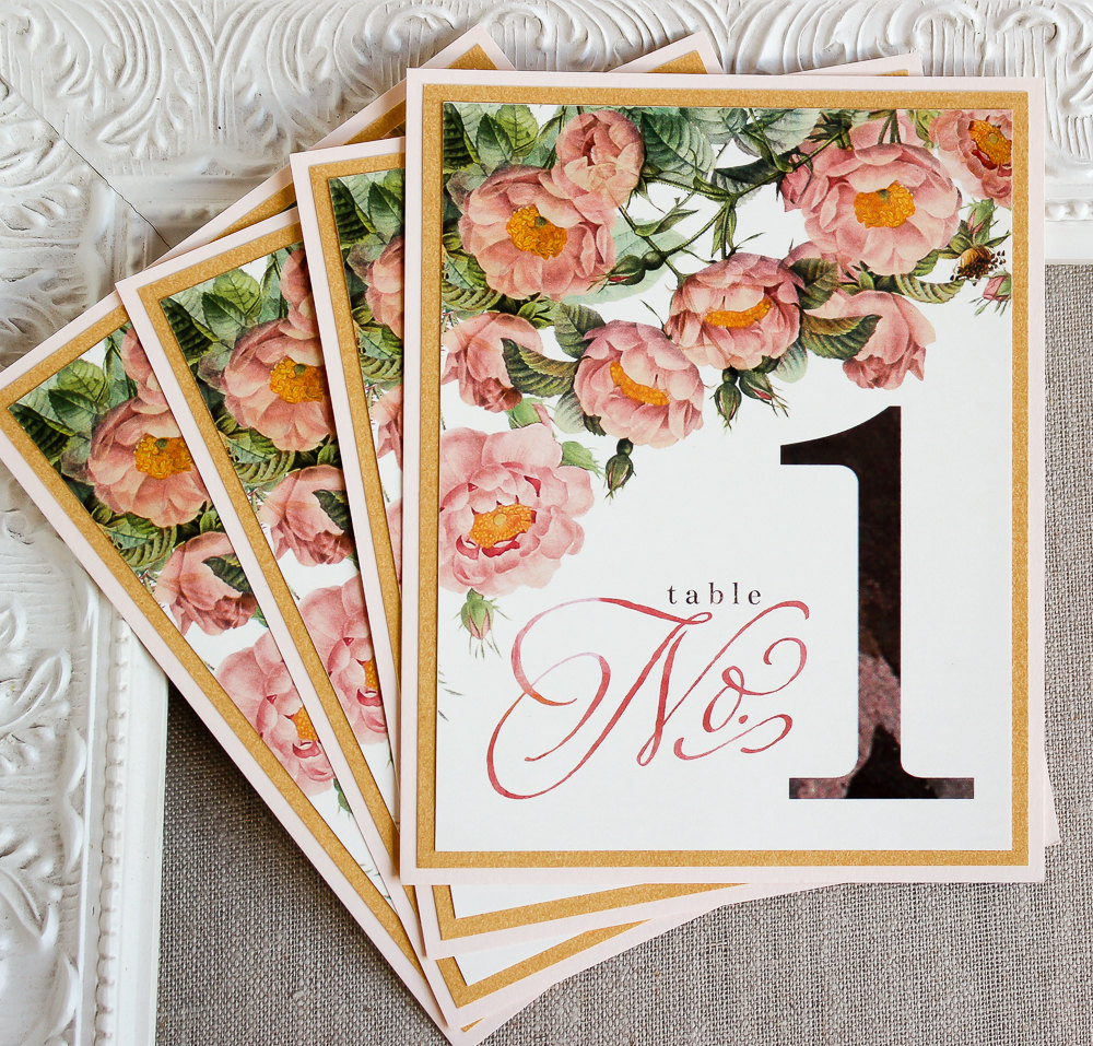 Blush Pink and Gold Roses Wedding Reception Table Numbers - featuring Botanical Watercolor Illustration - perfect for Vintage Garden Weddings, Vintage Weddings and even Rustic Weddings. From Sunshine and Ravioli - as seen on www.BrendasWeddingBlog.com