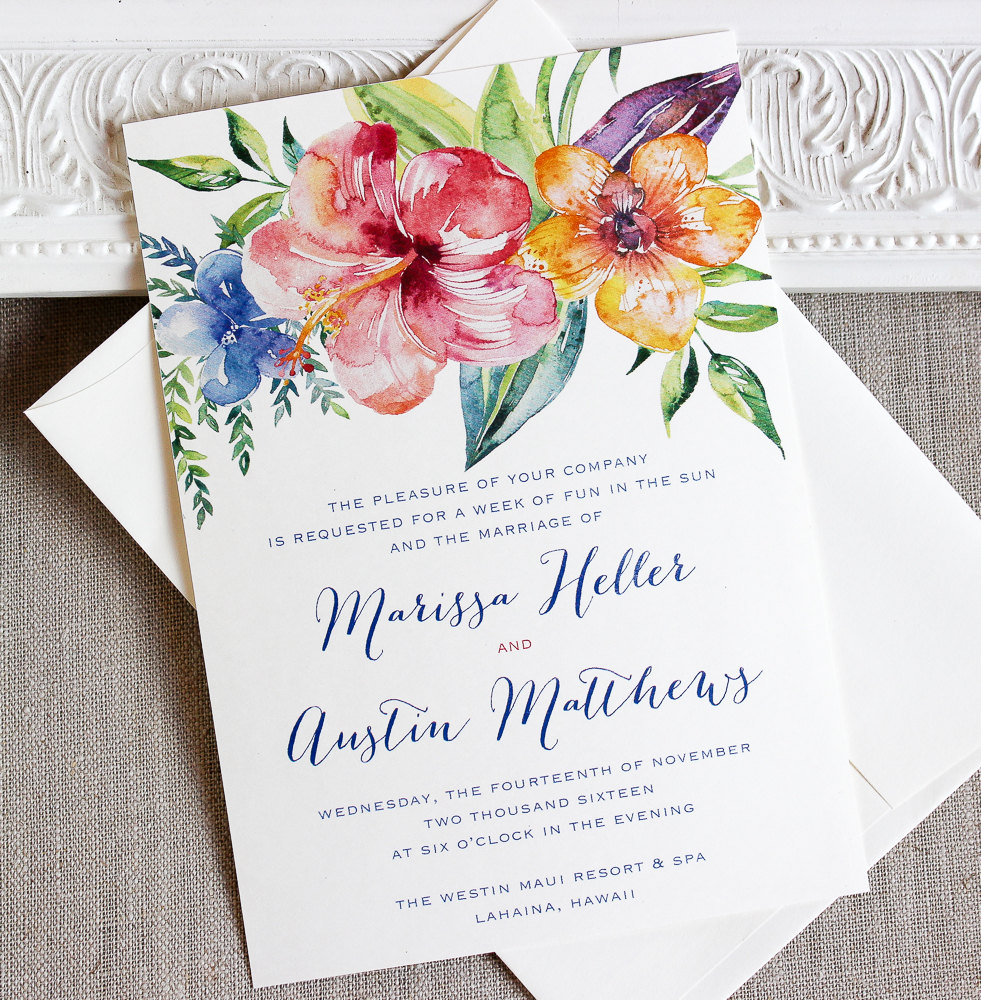 Tropical Hibiscus Watercolor Wedding Invitation for Destination Weddings and Beach Weddings to a tropical or island location. From Sunshine and Ravioli - as seen on www.BrendasWeddingBlog.com
