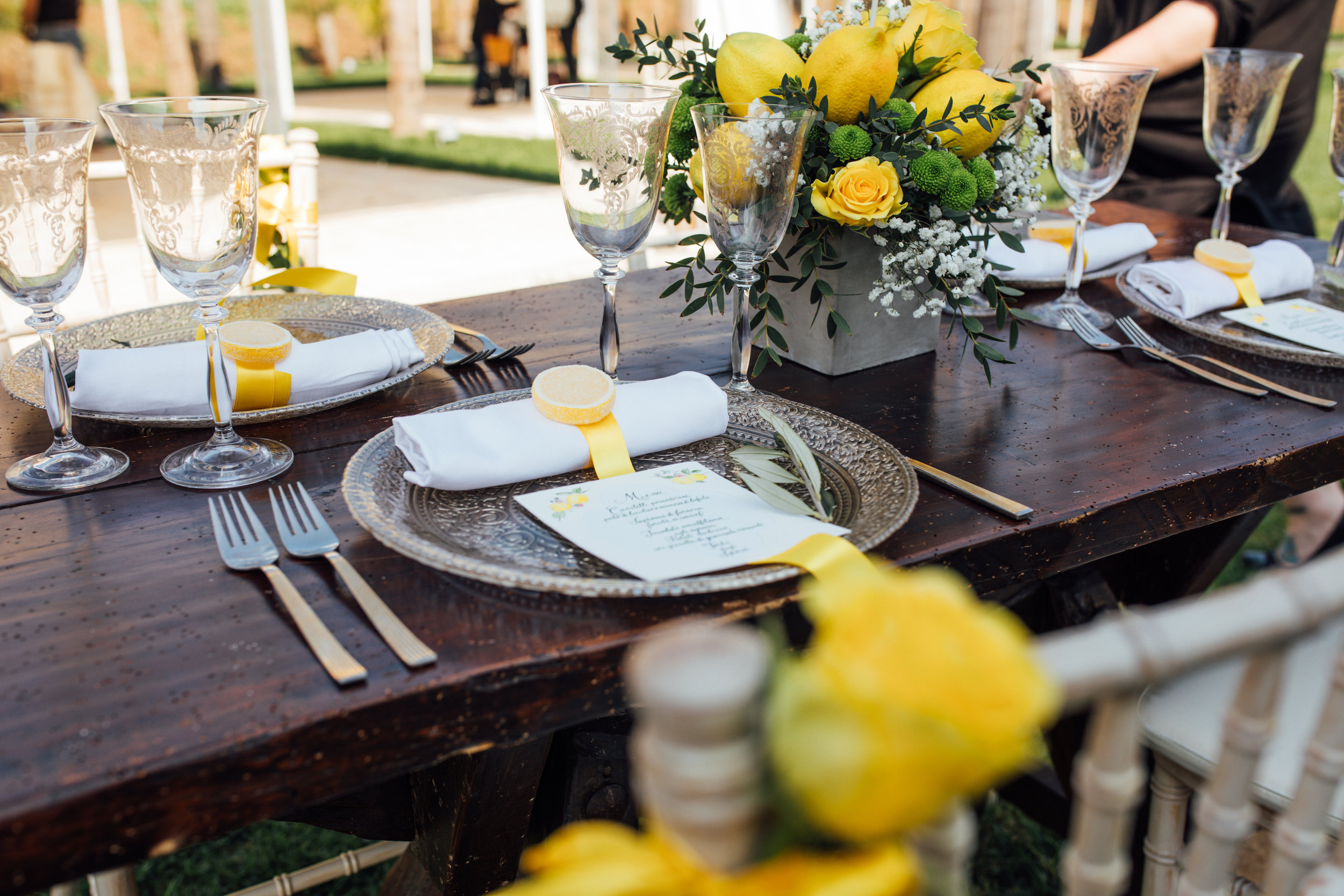 Lemon Inspired Tablescape from a Garden Wedding Styled Shoot in Rome Italy - by Jess Palatucci Photography - as seen on www.BrendasWeddingBlog.com