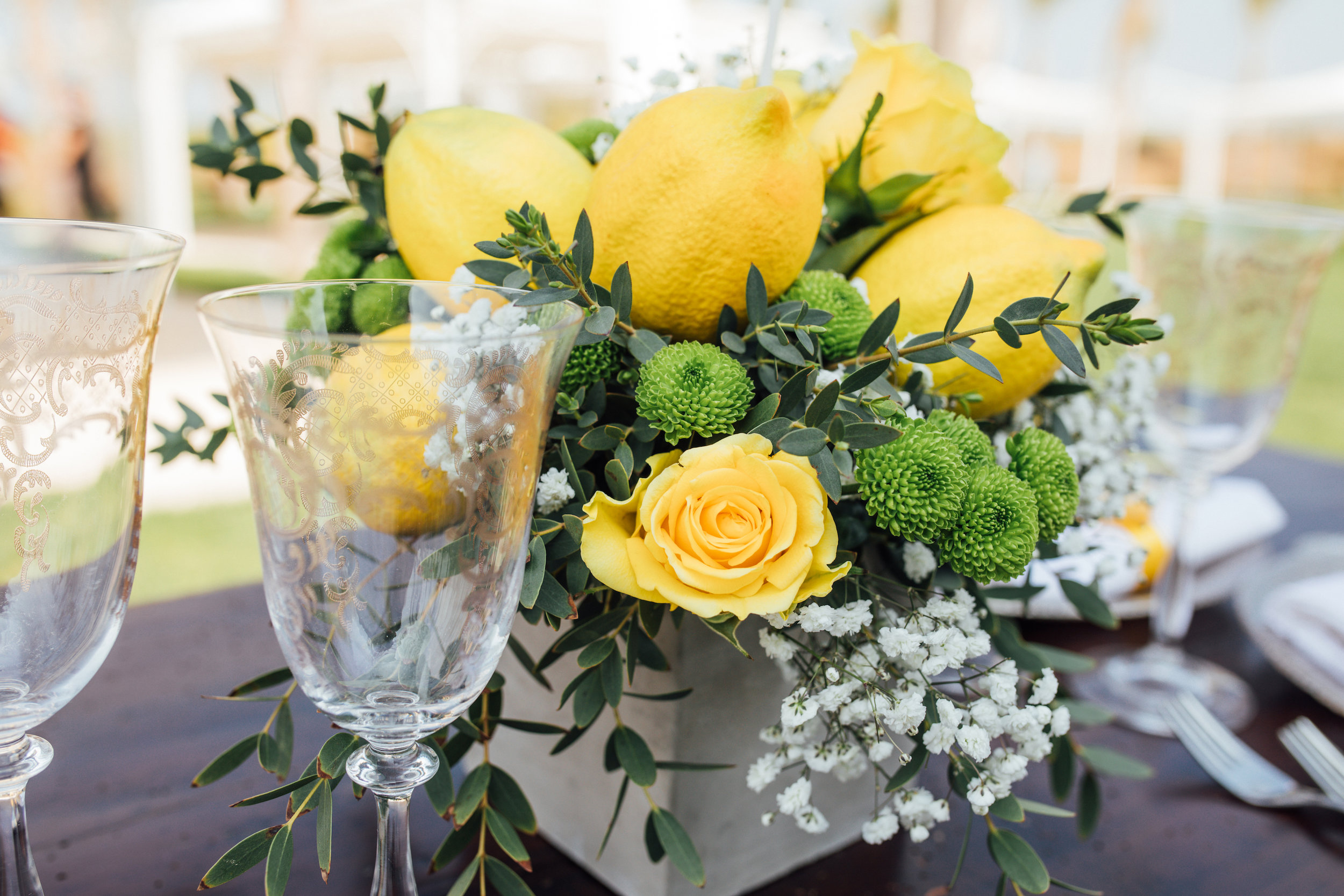 Gorgeous Lemon Centerpiece with Yellow Roses from a Garden Wedding Styled Shoot in Rome Italy - by Jess Palatucci Photography - as seen on www.BrendasWeddingBlog.com