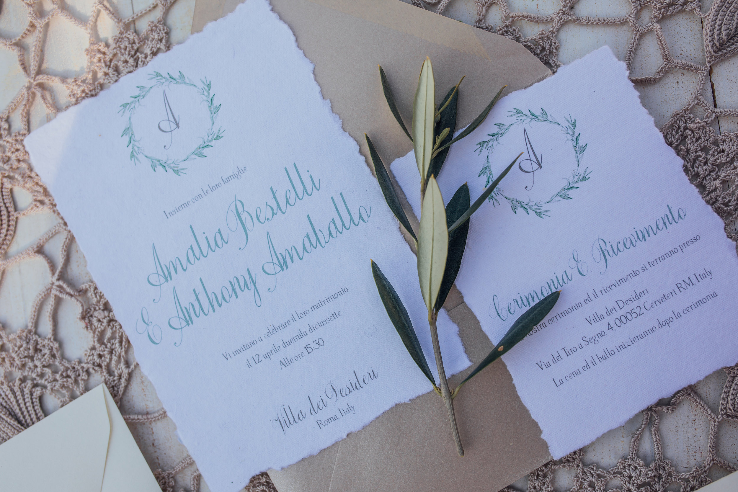 Handmade Monogrammed Wedding Invitation Suite with deckled edge from a Lemon Yellow Garden Wedding Styled Shoot in Rome Italy - by Jess Palatucci Photography - as seen on www.BrendasWeddingBlog.com