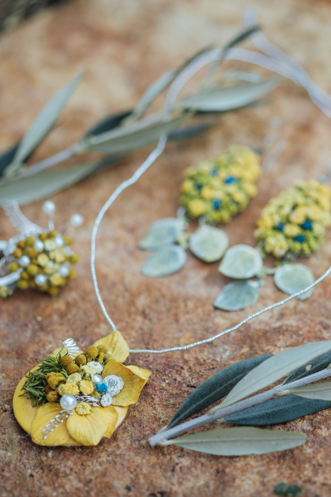 Handmade wedding jewelry set from a Lemon Yellow Garden Wedding Styled Shoot in Rome Italy - by Jess Palatucci Photography - as seen on www.BrendasWeddingBlog.com