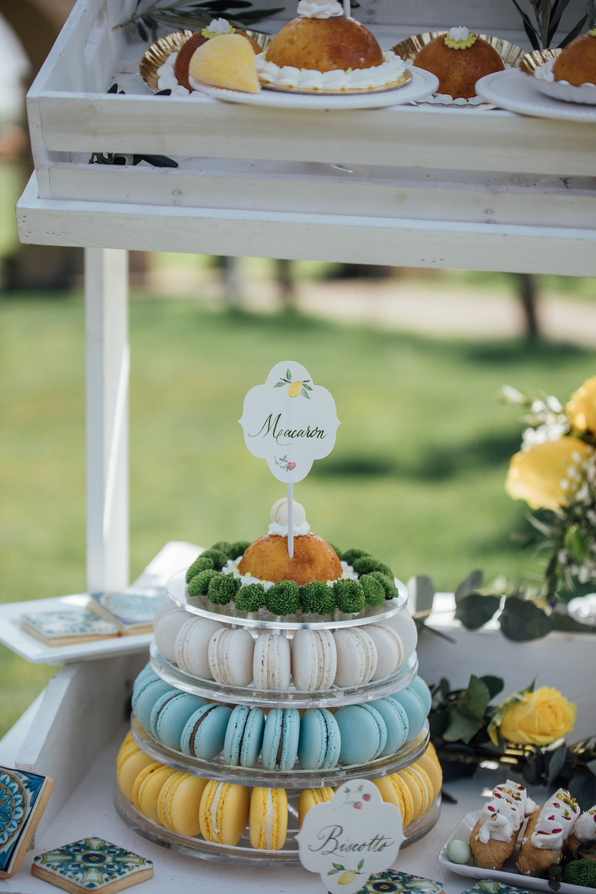 Macaron wedding cake tower from a Lemon Yellow Garden Wedding Styled Shoot in Rome Italy - by Jess Palatucci Photography - as seen on www.BrendasWeddingBlog.com