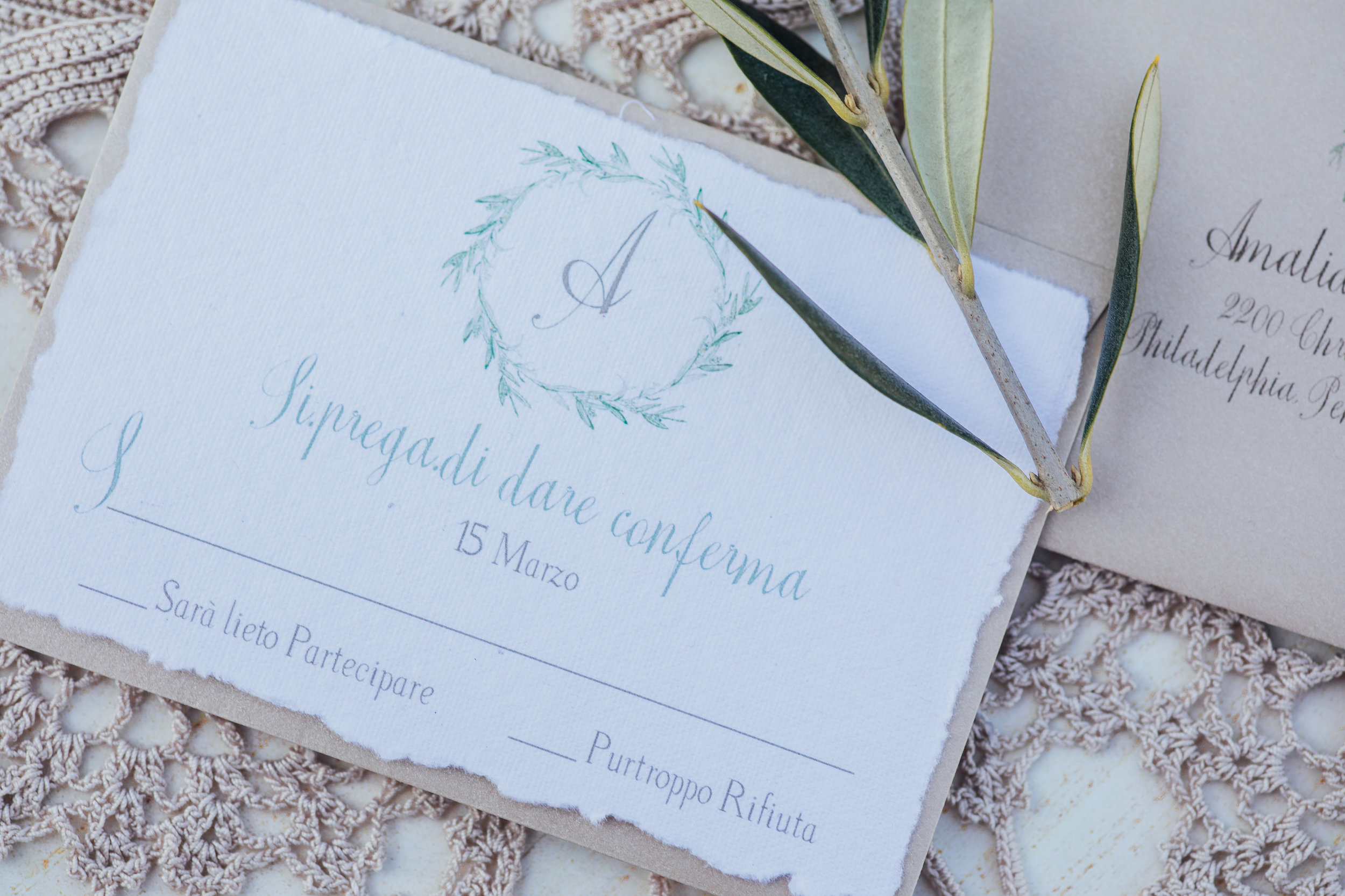 Handmade monogrammed response card from a Lemon Yellow Garden Wedding Styled Shoot in Rome Italy - by Jess Palatucci Photography - as seen on www.BrendasWeddingBlog.com