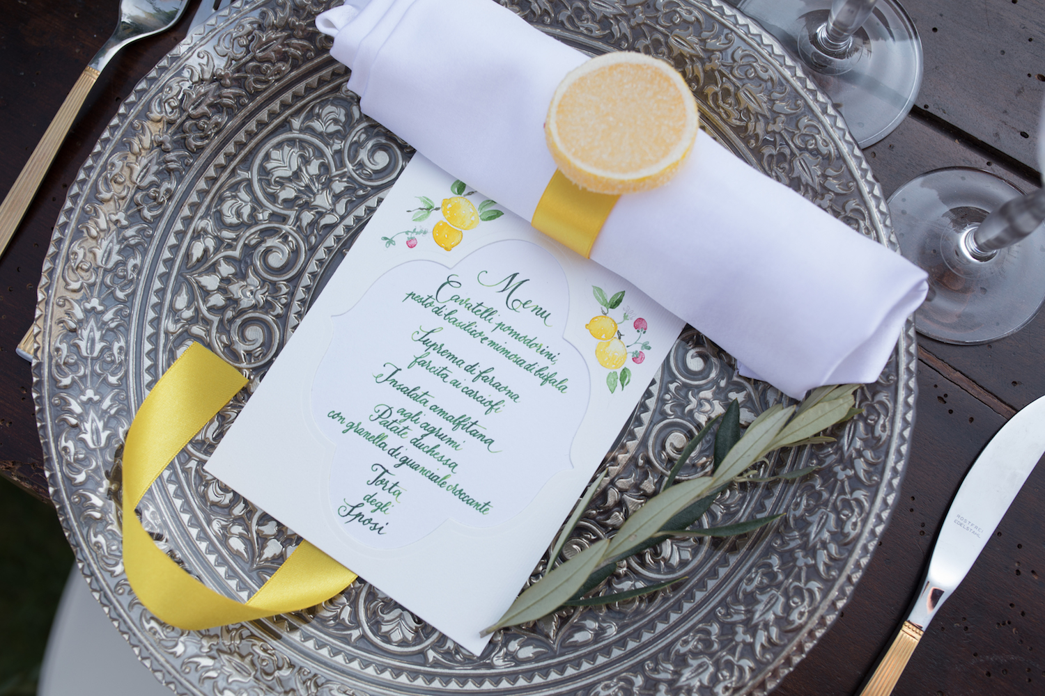 Wedding Dinner Menu from a Lemon Yellow Garden Wedding Styled Shoot in Rome Italy - by Jess Palatucci Photography - as seen on www.BrendasWeddingBlog.com