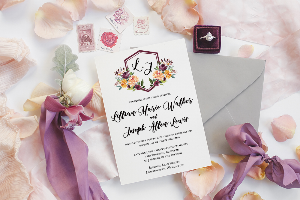 Custom Floral Wedding Invitation with Monogram in a Crest from Simply Paper / Let's Celebrate your special moments in life through paper / as seen on www.BrendasWeddingBlog.com