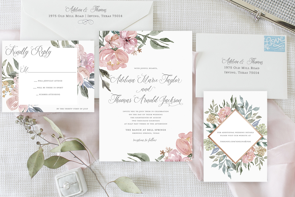 Custom Wedding Invitation Suite with muted florals for Garden Weddings / from Simply Paper where they help couples Celebrate their special moments in life through paper / as seen on www.BrendasWeddingBlog.com