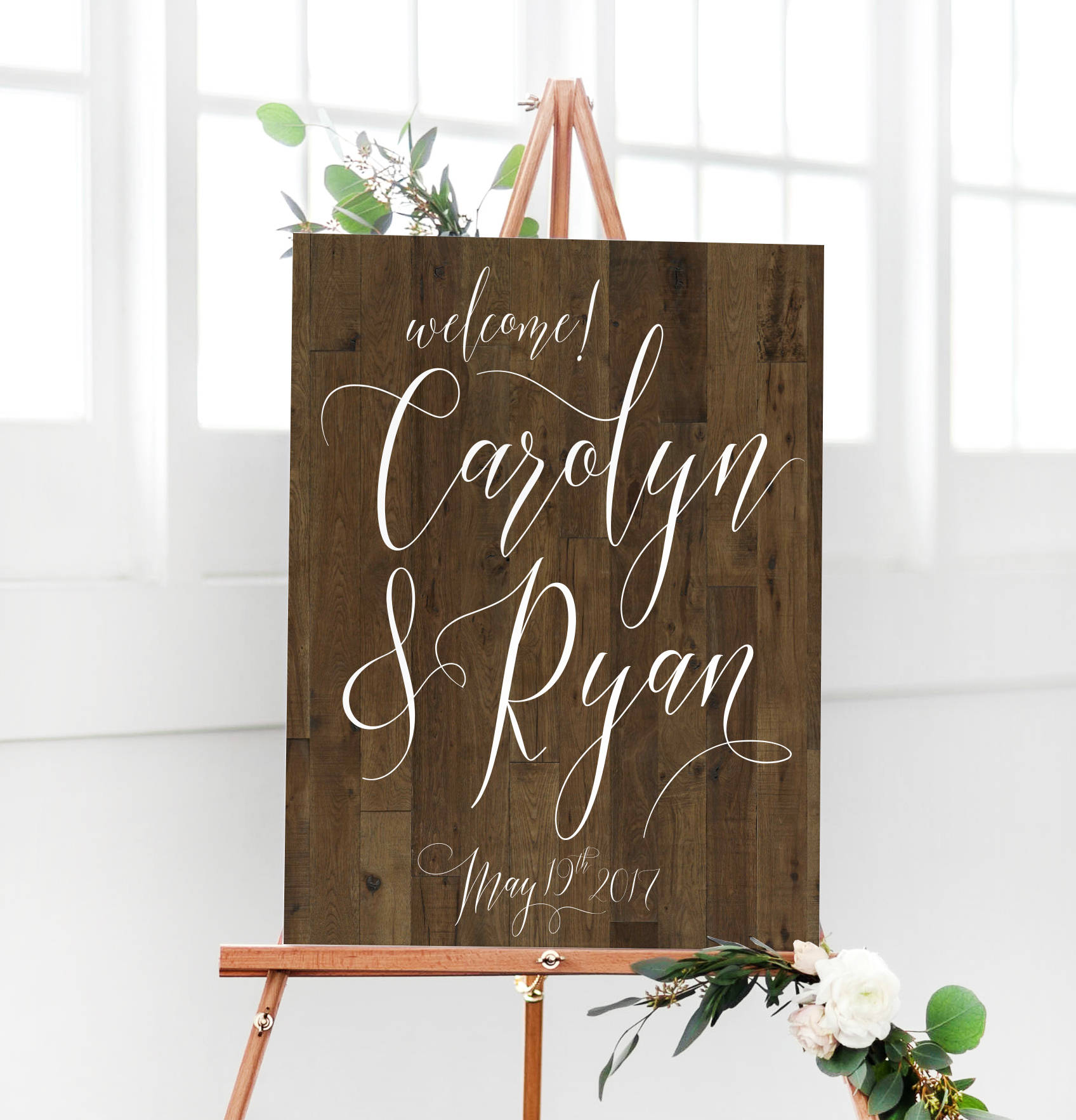 Personalized Faux Wood Wedding Sign for the Reception Entrance - greet your wedding guests with a statement piece that makes them say wow. From Miss Design Berry - as seen on www.BrendasWeddingBlog.com