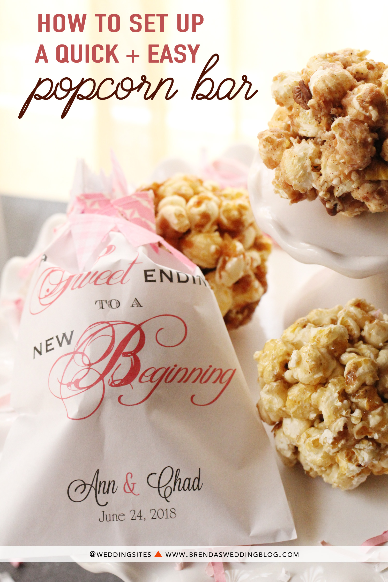 How to set up a quick and easy popcorn bar at your wedding reception or celebration. Find styling tips and how to gather a few supplies and handmade popcorn balls {pre-made artisan popcorn balls} to surprise your party guests with an edible party favor to take home. As seen on www.BrendasWeddingBlog.com