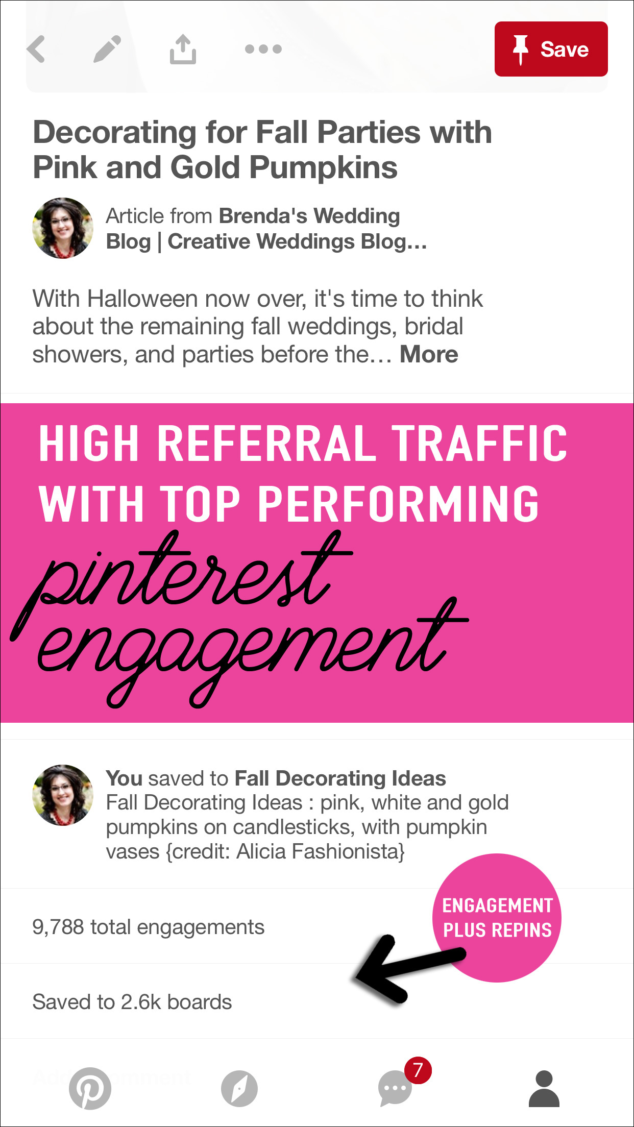Your Most Popular Pin of the Week will show you high referral traffic with your top performing pins. High Pinterest engagement means more traffic to your blog, website and/or shop and more sales from Pinterest. See more on www.BrendasWeddingBlog.com
