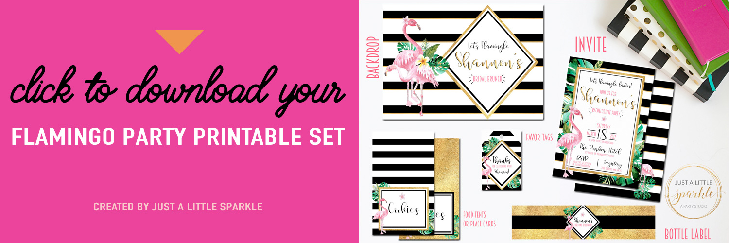 Download your Flamingo Party Printable Set for Bachelorette Parties, Bridal Showers, Bridal Brunches - created by Just a Little Sparkle / as seen on Brenda's Wedding Blog www.brendasweddingblog.com