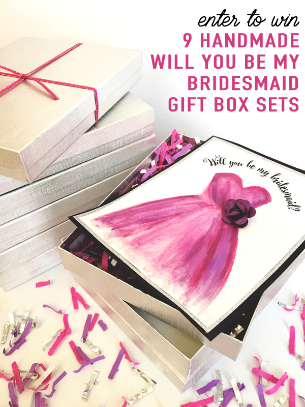Enter to Win 9 Handmade Will You Be My Bridesmaid Gift Card Sets with Confetti