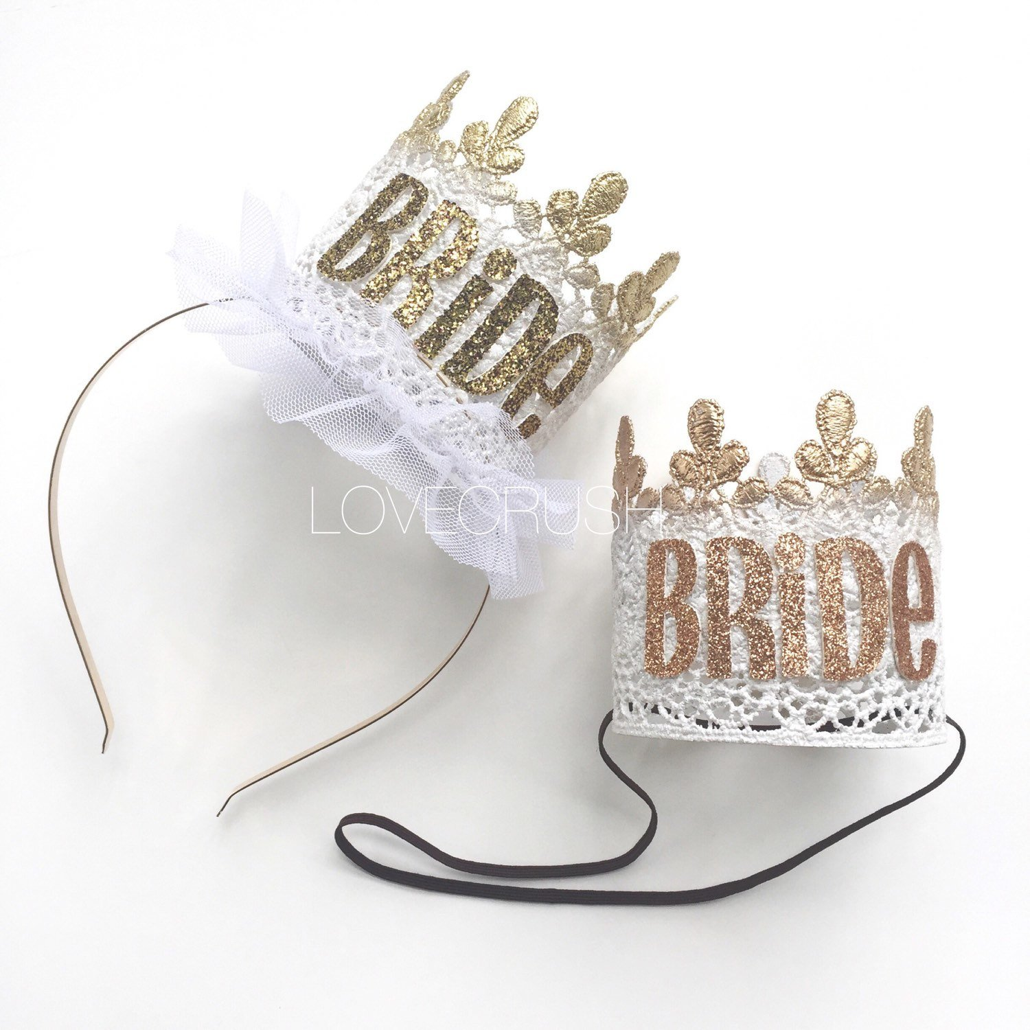 Make your bride to be's bridal shower or bachelorette weekend extra special with a fancy lace crown. Can be created with a metal headband or elastic. From Love Crush Crowns - as seen on Brenda's Wedding Blog www.brendasweddingblog.com #weddinggift #bridalshowergift #engagementgift #bacheloretteparty #lacecrown #bridalaccessory #bridetobe #bacheloretteweekend