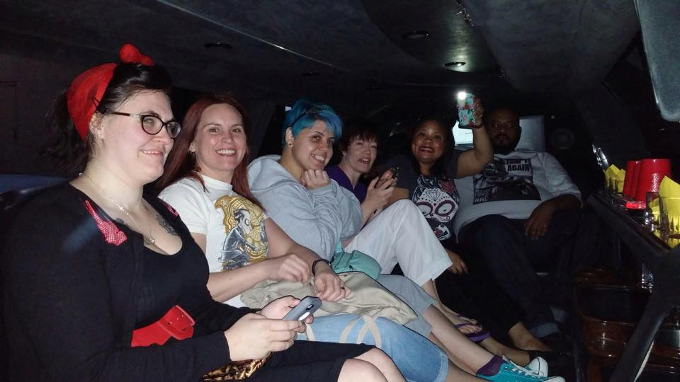 Cruising in style to the Las Vegas EAT restaurant. Left to right: Kayse, Kelly, Stella, Mindy, Sandy, Mike