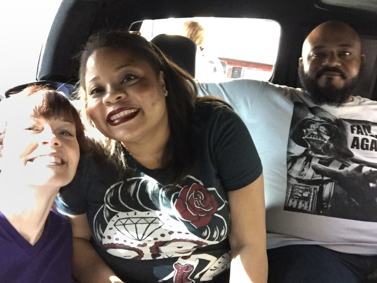 Cruising in style to the Las Vegas EAT restaurant.  Left to right: Mindy, Sandy, Mike