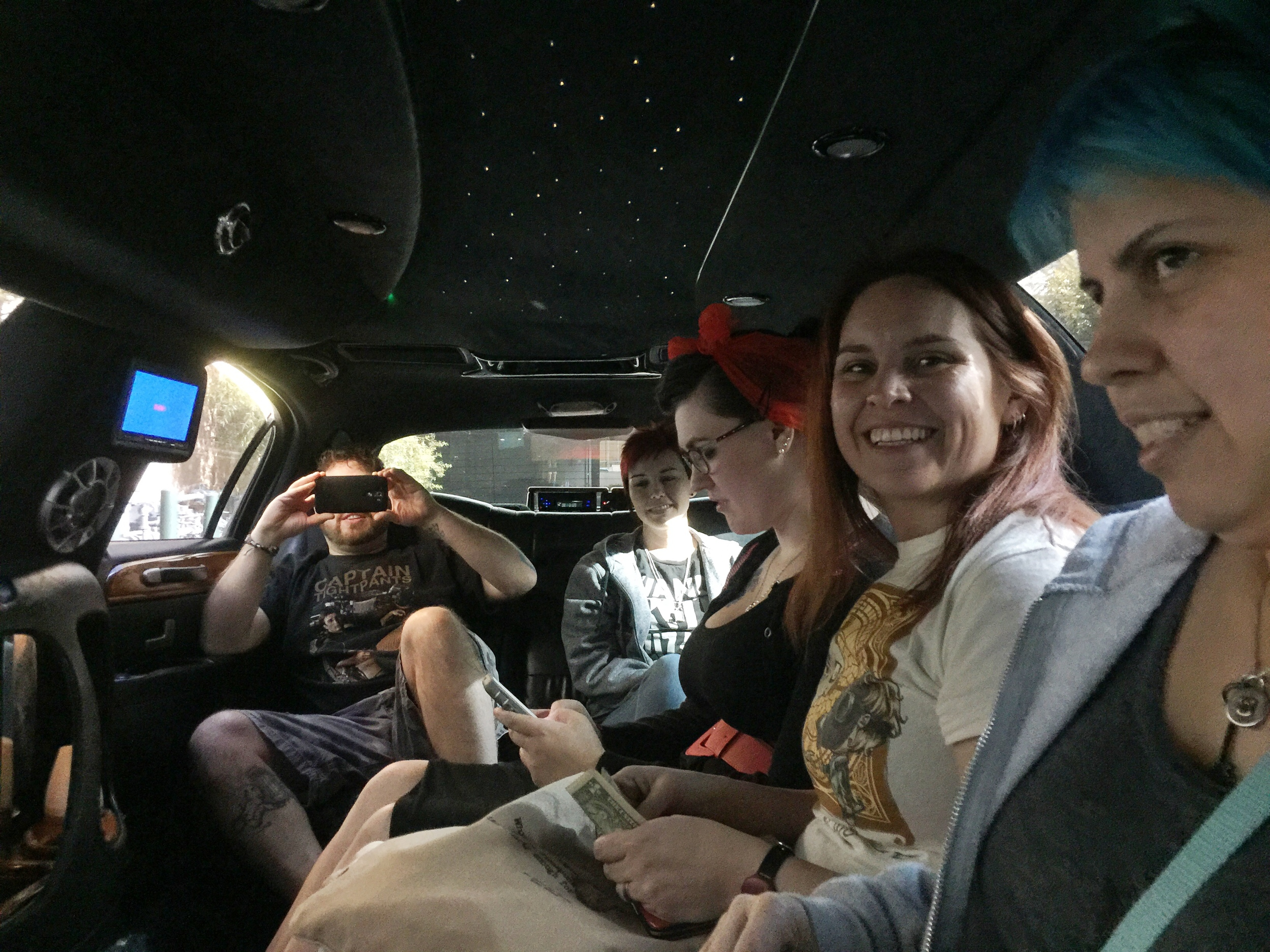 Cruising in style to the Las Vegas EAT restaurant.  Left to right: Voodoo Charlie, Chelly, Kayse, Kelly, Stella