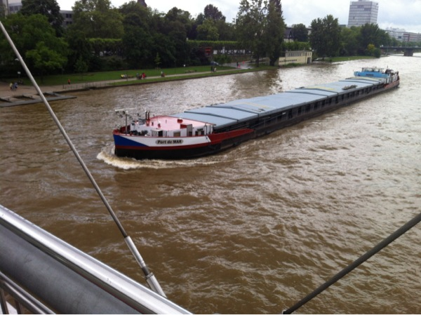 A river boat in Frankfurt - the flooded river was droping