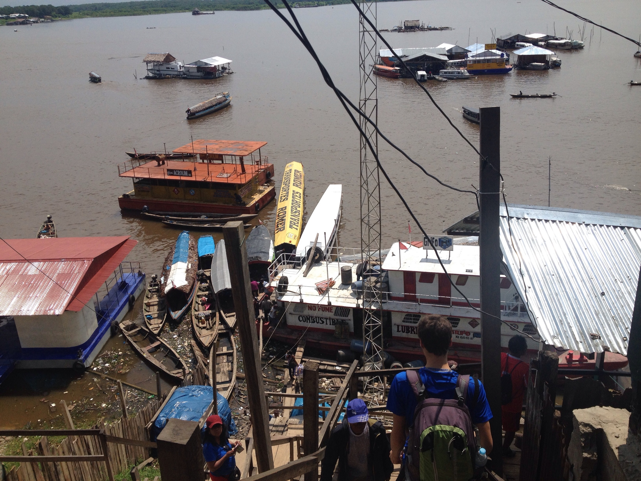 Catching the fast boat from Iquitos wharf to Amazon camp