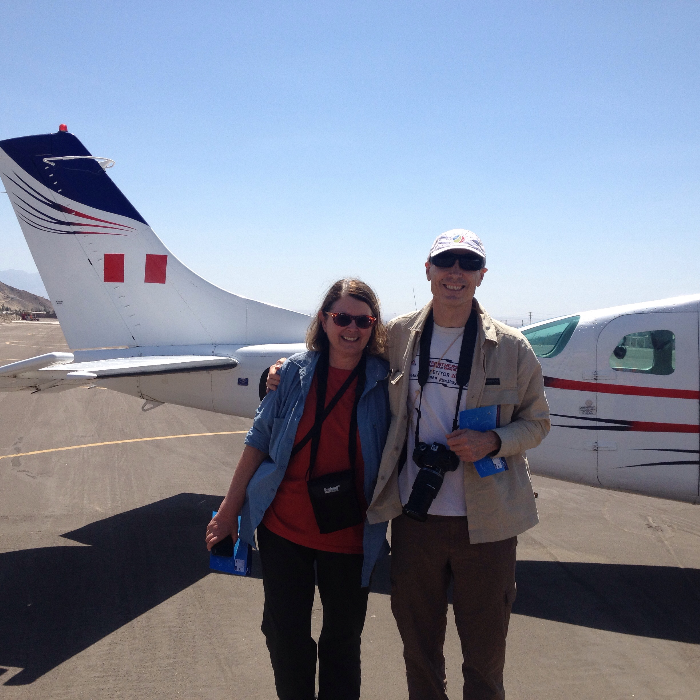 Karen and Paul back to earth after Nazcar lines viewing flight
